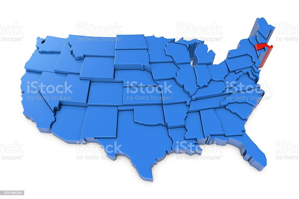 Usa Map With Massachusetts State Highlighted In Red stock photo