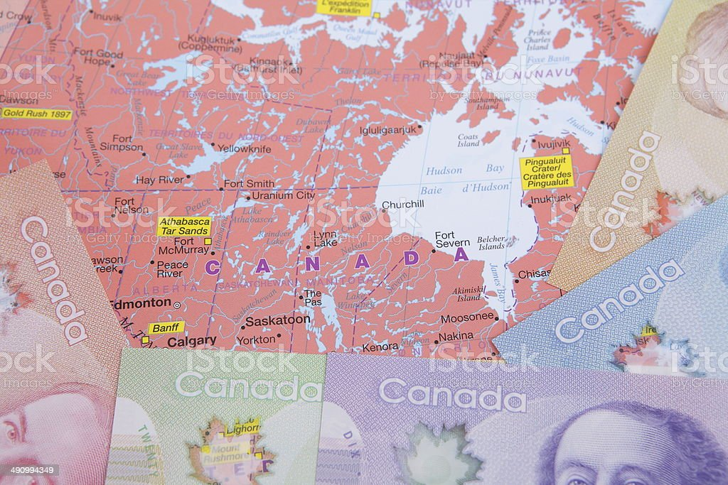Map with New Canadian Bills stock photo