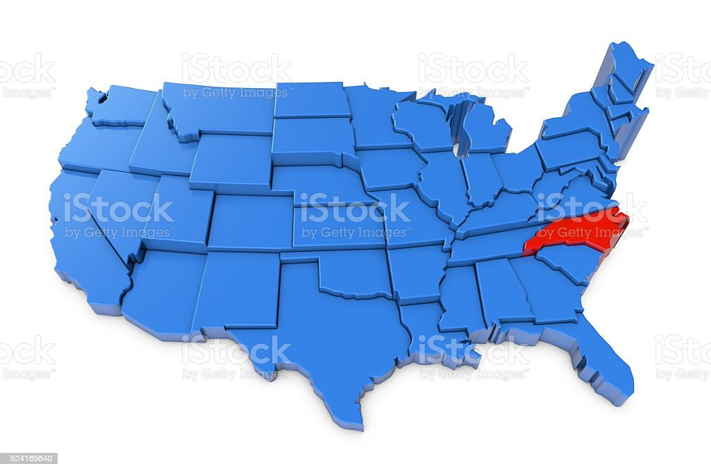 USA map with North Carolina state highlighted in red stock photo