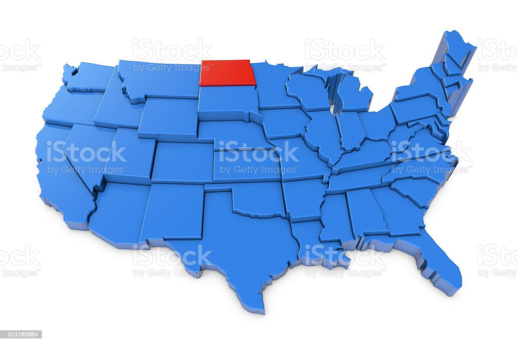 Usa Map With North Dakota State Highlighted In Red Stock Photo - North dakota in usa map