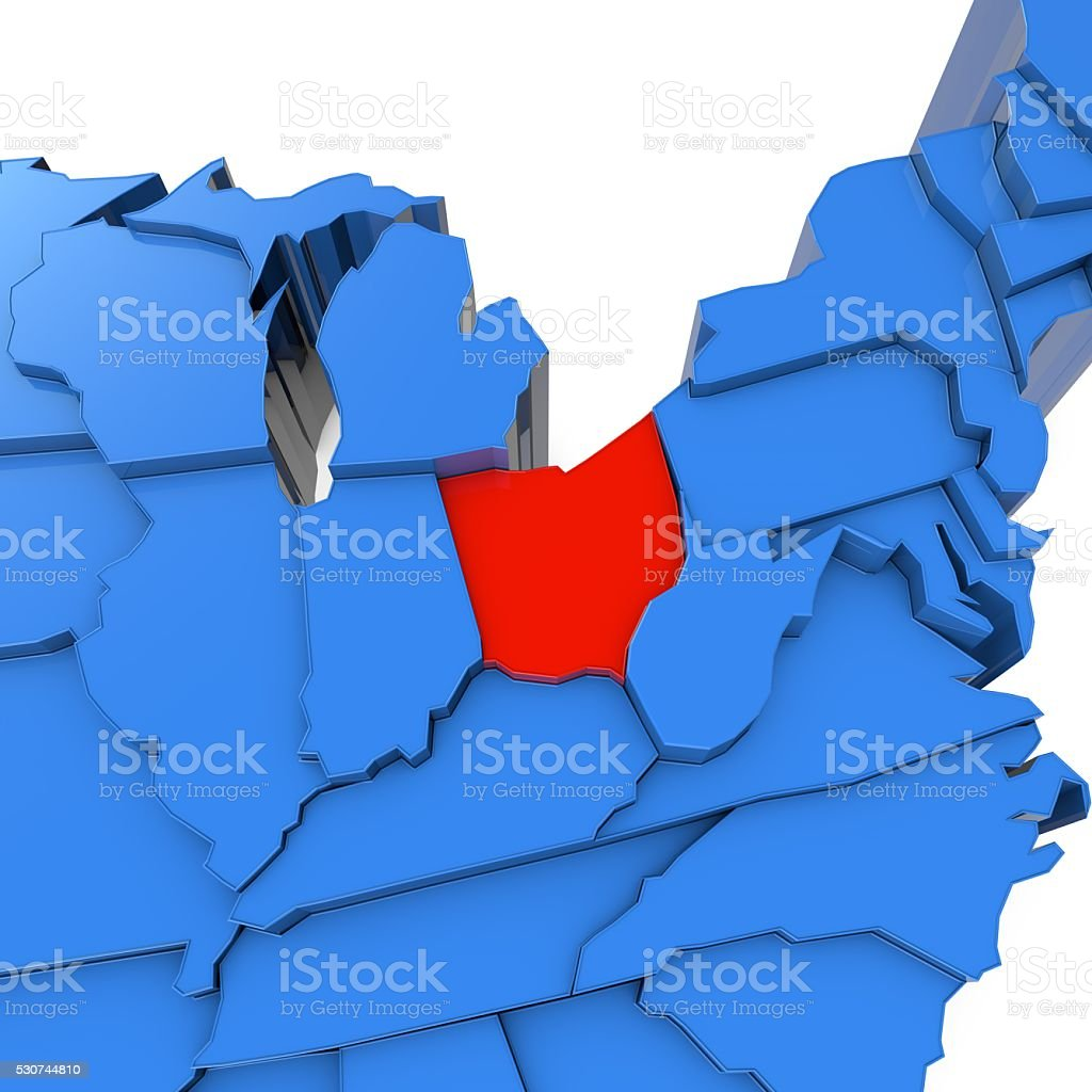 USA map with Ohio state highlighted in red stock photo