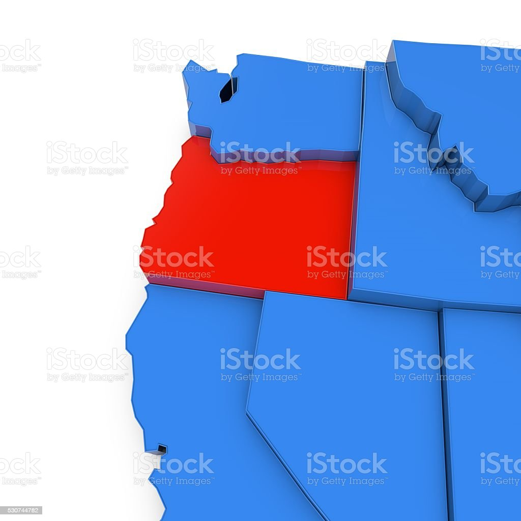 Usa Map With Oregon State Highlighted In Red Stock Photo - Map of oregon state usa