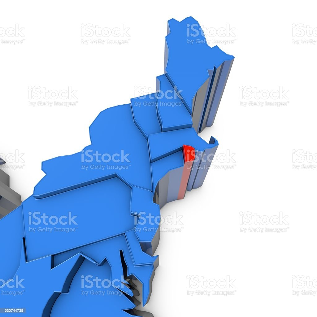 Usa Map With Rhode Island State Highlighted In Red Stock Photo - Rhode island in usa map