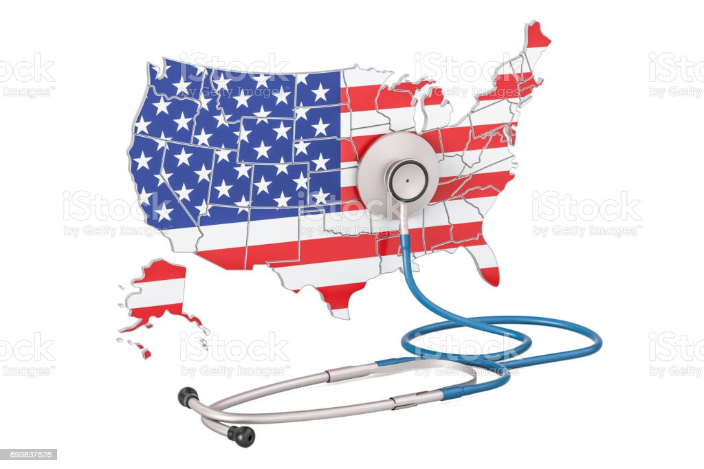 USA map with stethoscope, national health care concept, 3D rendering stock photo