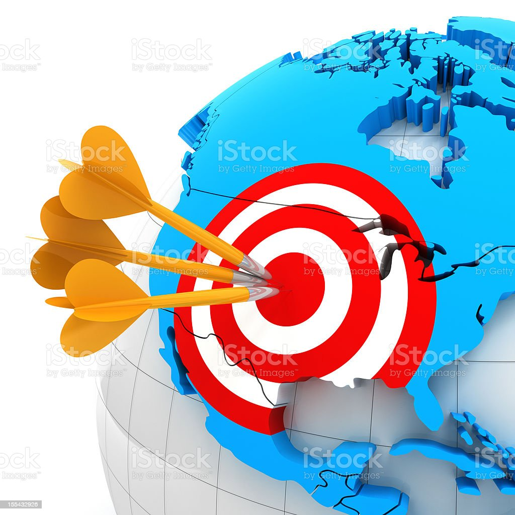 USA map with target and darts, 3d render stock photo