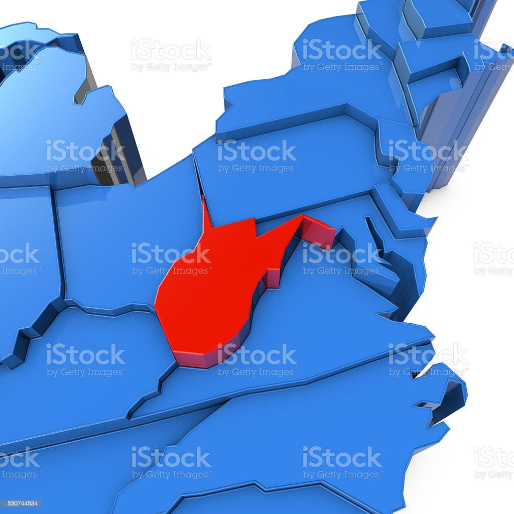 Usa Map With West Virginia State Highlighted In Red Stock Photo - Map of us with west highlighted
