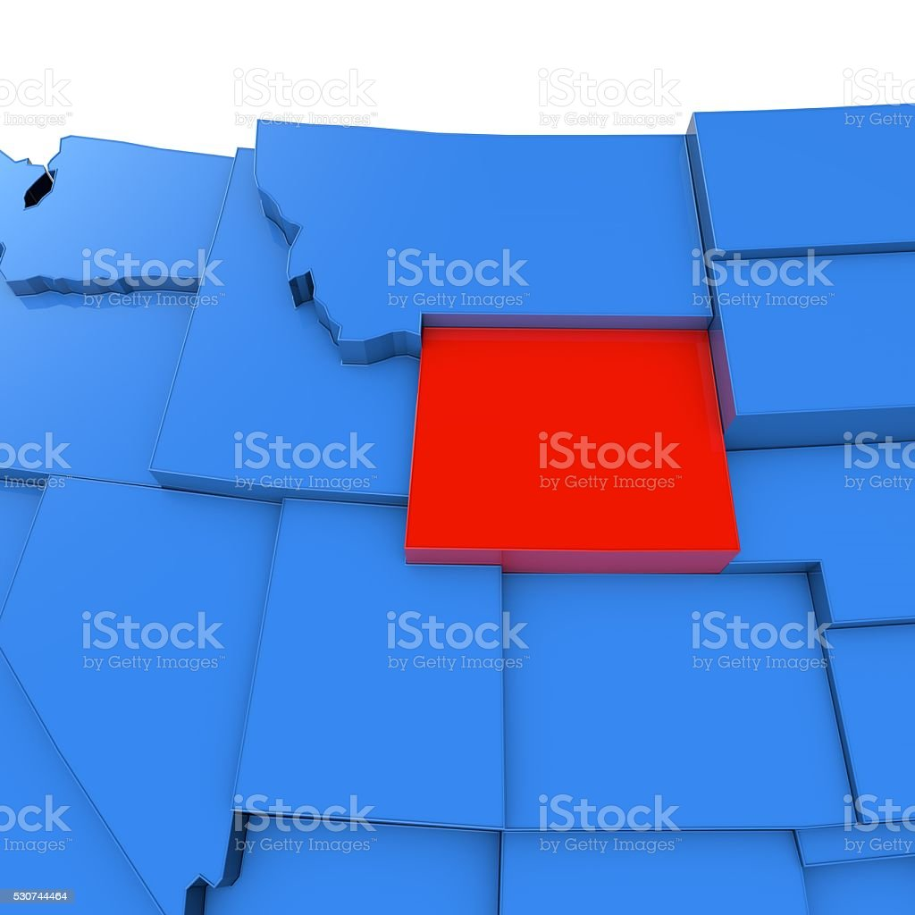 USA map with Wyoming state highlighted in red stock photo