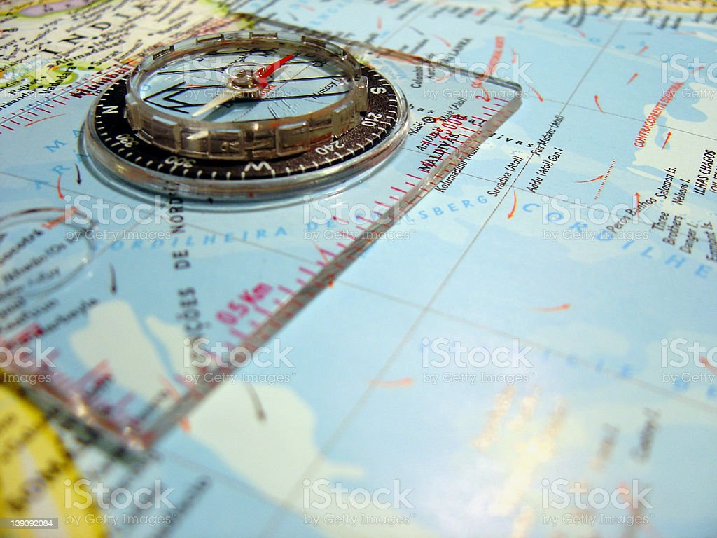 map&compass3 stock photo