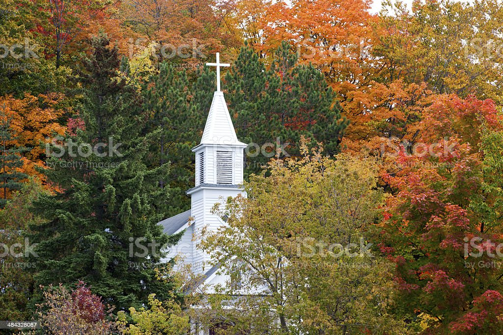 Maple City's St. Rita's Catholic Church in Autumn stock photo