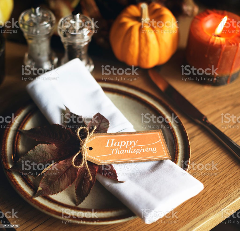 Maple Leaf Thanksgiving Table Setting Concept stock photo