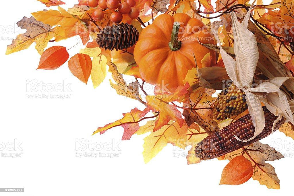 Maple leaves and pumpkin royalty-free stock photo