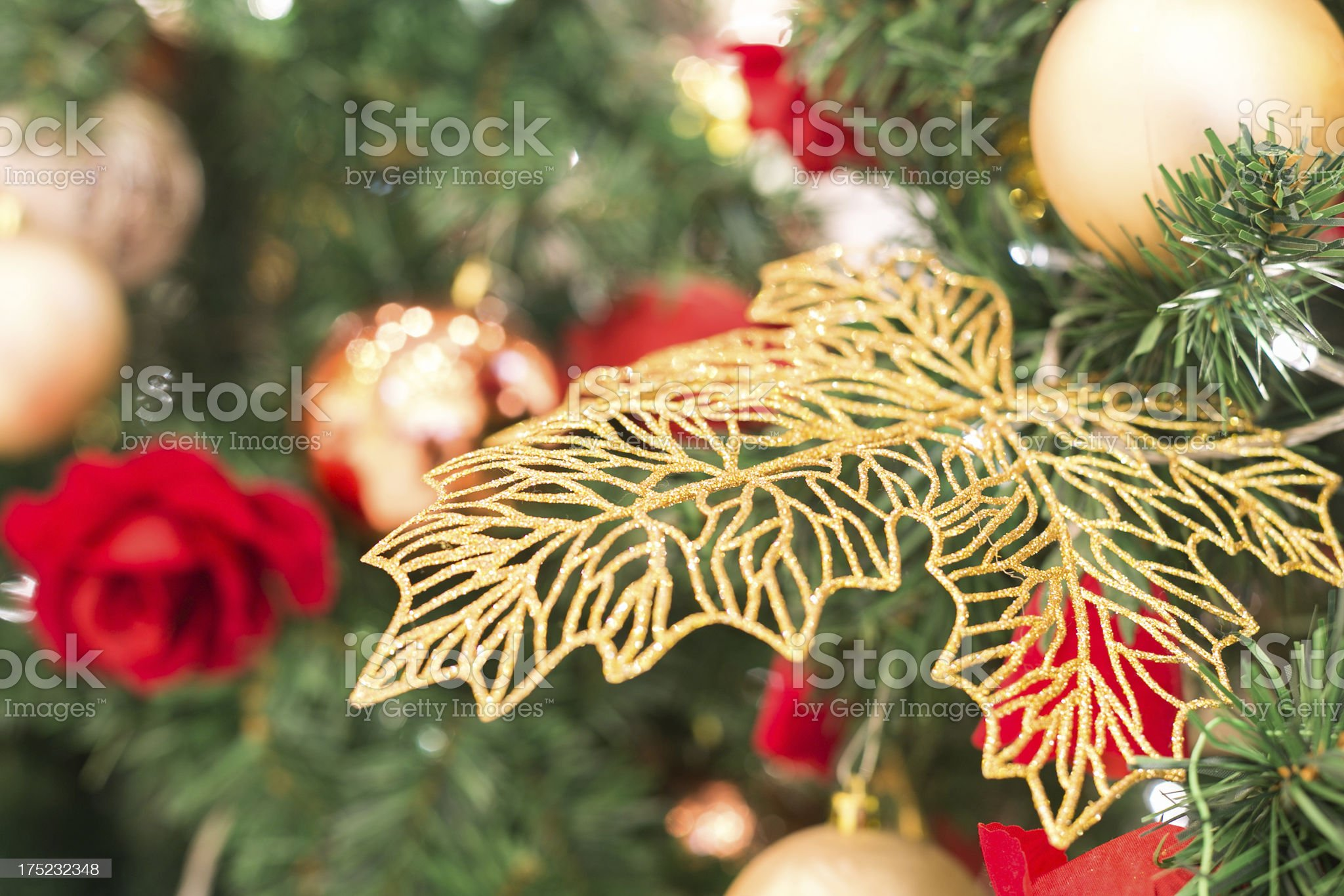 Maple Leaves on Christmas Tree royalty-free stock photo