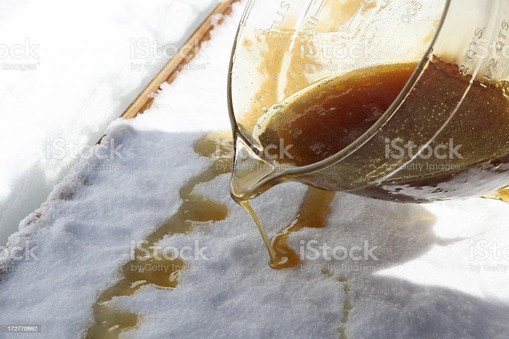 Maple Sugar Taffy on Snow at Sugar Shack royalty-free stock photo