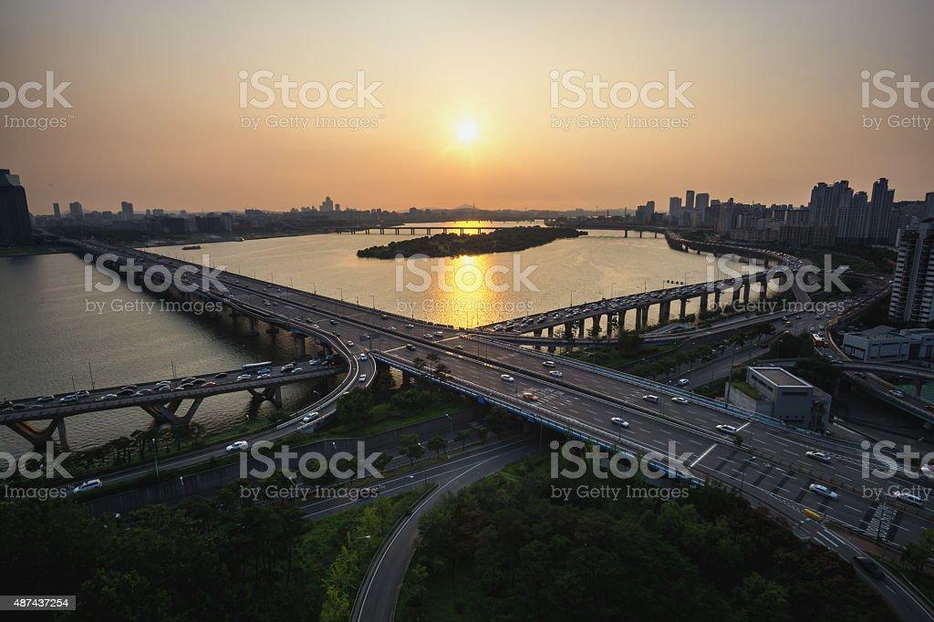 Mapo Bridge stock photo
