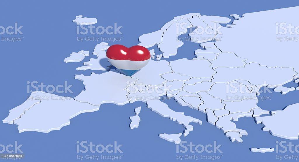 Mappa Europa 3D con cuore Lussemburgo stock photo