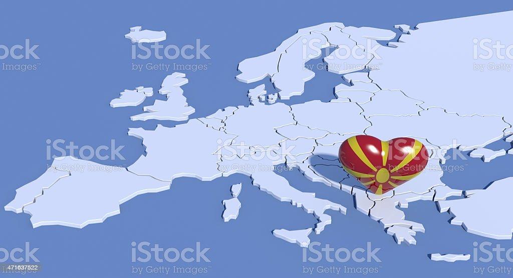 Mappa Europa 3D con cuore Macedonia stock photo