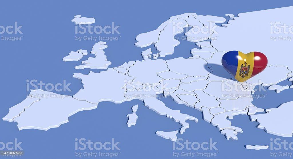 Mappa Europa 3D con cuore Moldavia stock photo