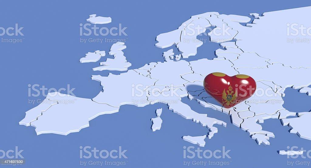 Mappa Europa 3D con cuore Montenegro stock photo