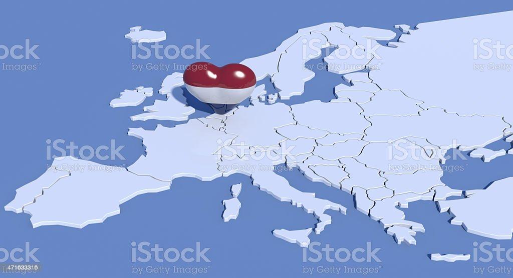 Mappa Europa 3D con cuore Paesi Bassi stock photo