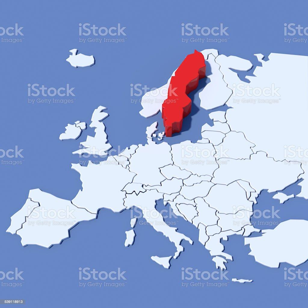 Mappa Europa 3D con indicazione Svezia stock photo