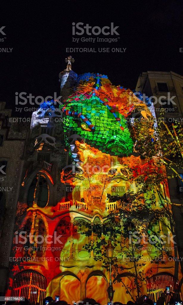 Mapping Casa Batlló. Festival of La Mercè in Barcelona stock photo