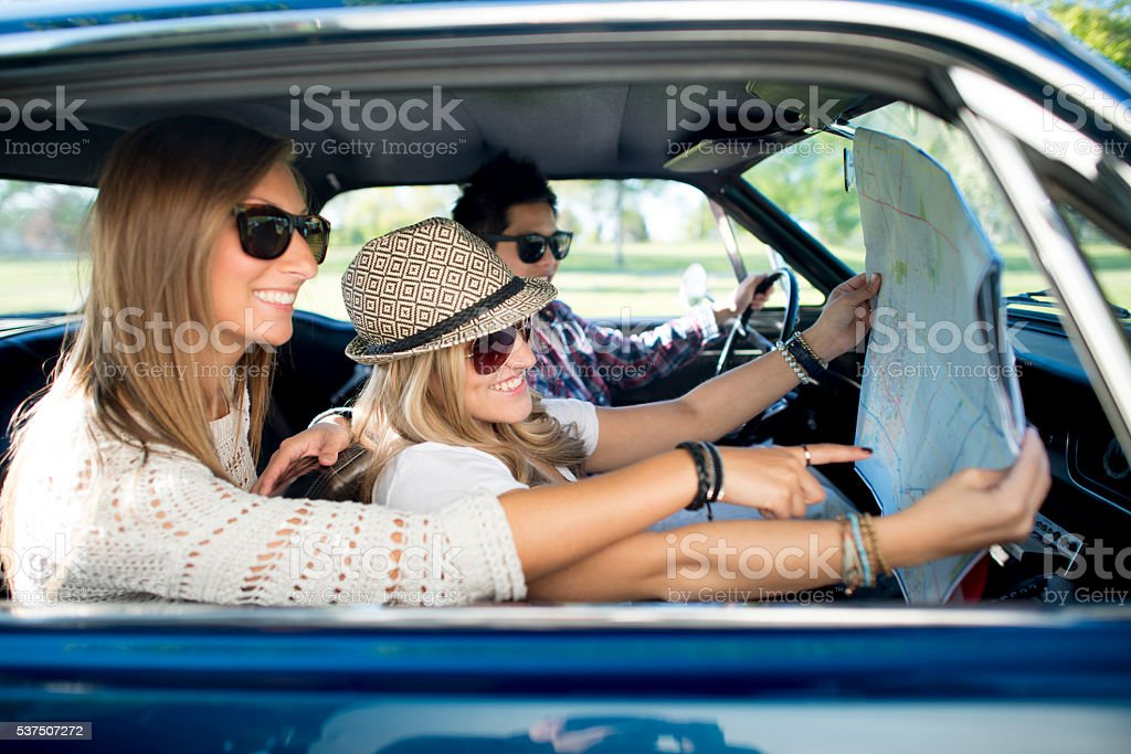 Mapping Out a Road Trip stock photo
