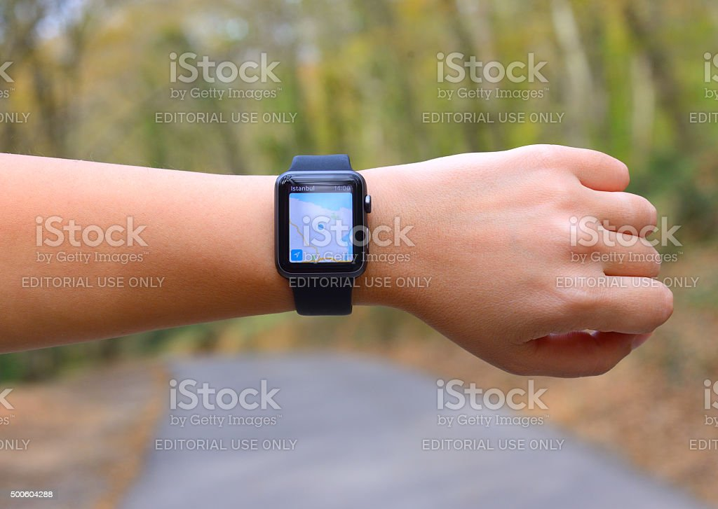 Maps and navigation on Apple Watch stock photo
