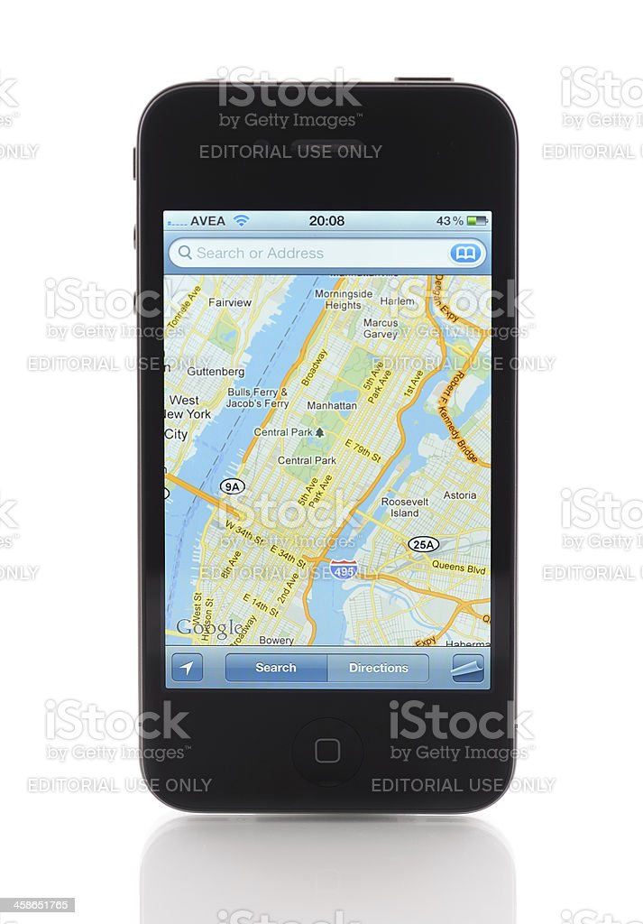 Maps application on Apple iPhone 4 stock photo