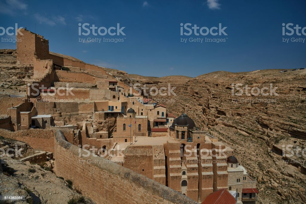 Mar Saba monastery at the desert (Israel) stock photo