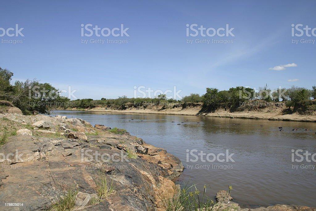 Mara River, African Landscape, Savannah, Kenya, Africa stock photo