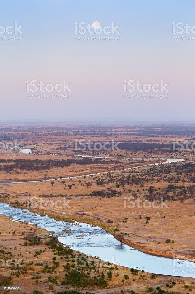Mara River winding across the Serengeti in Tanzania Africa stock photo