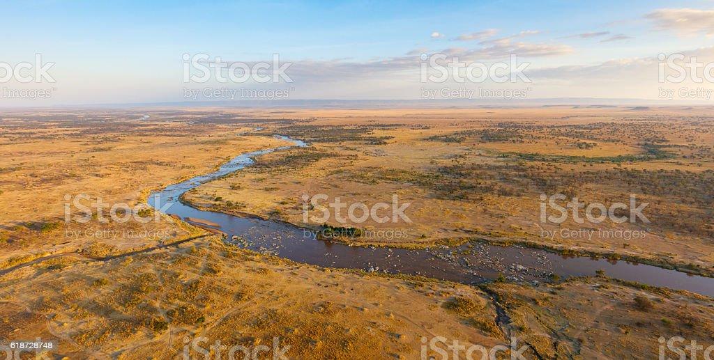 Mara River winding across the Serengeti Savanna, Tanzania Africa stock photo