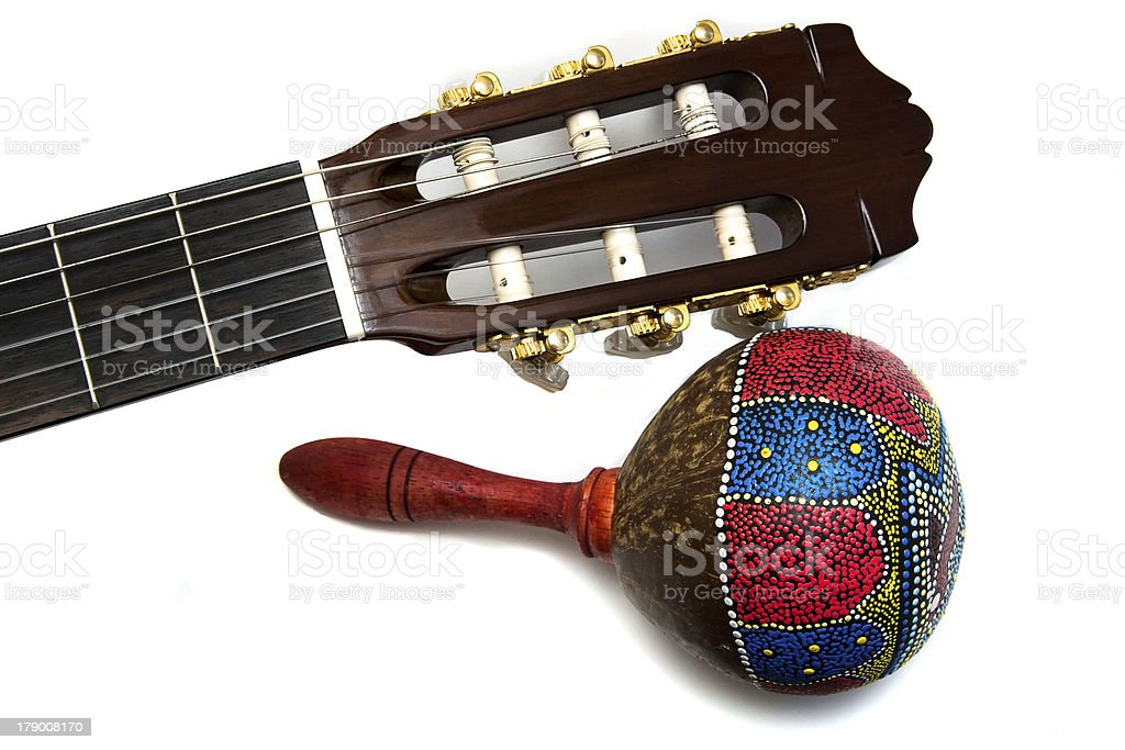 Maracas with acoustic guitar isolated on white stock photo