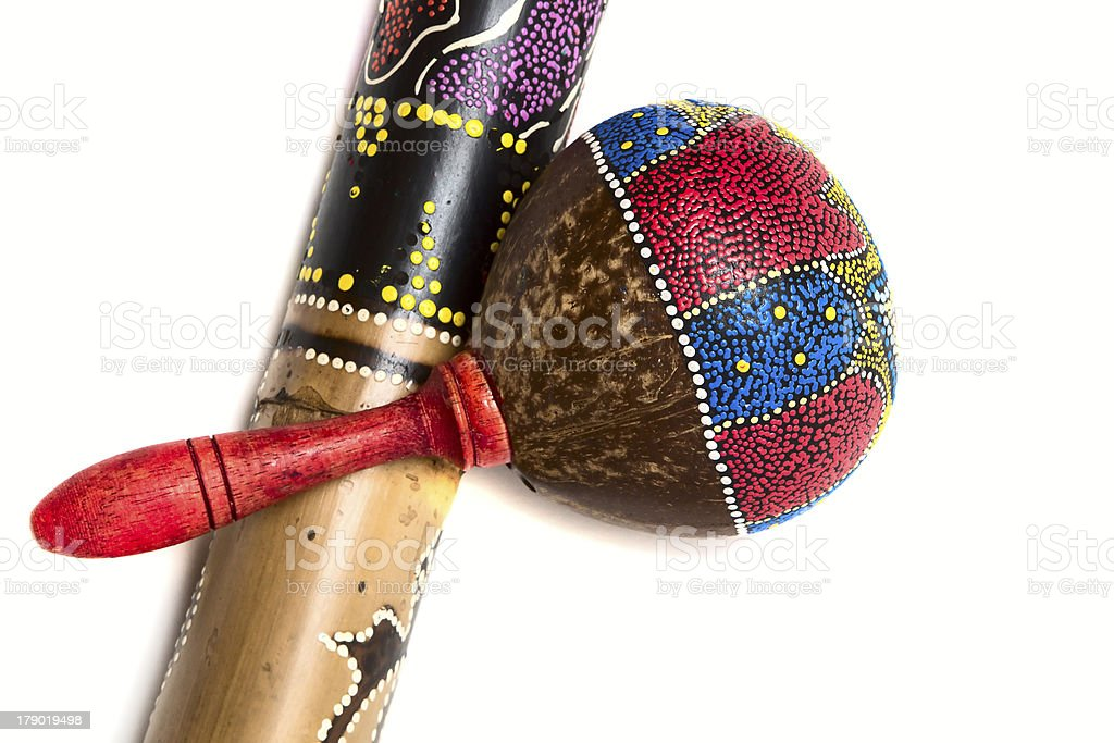 Maracas with rainstick isolated on white stock photo