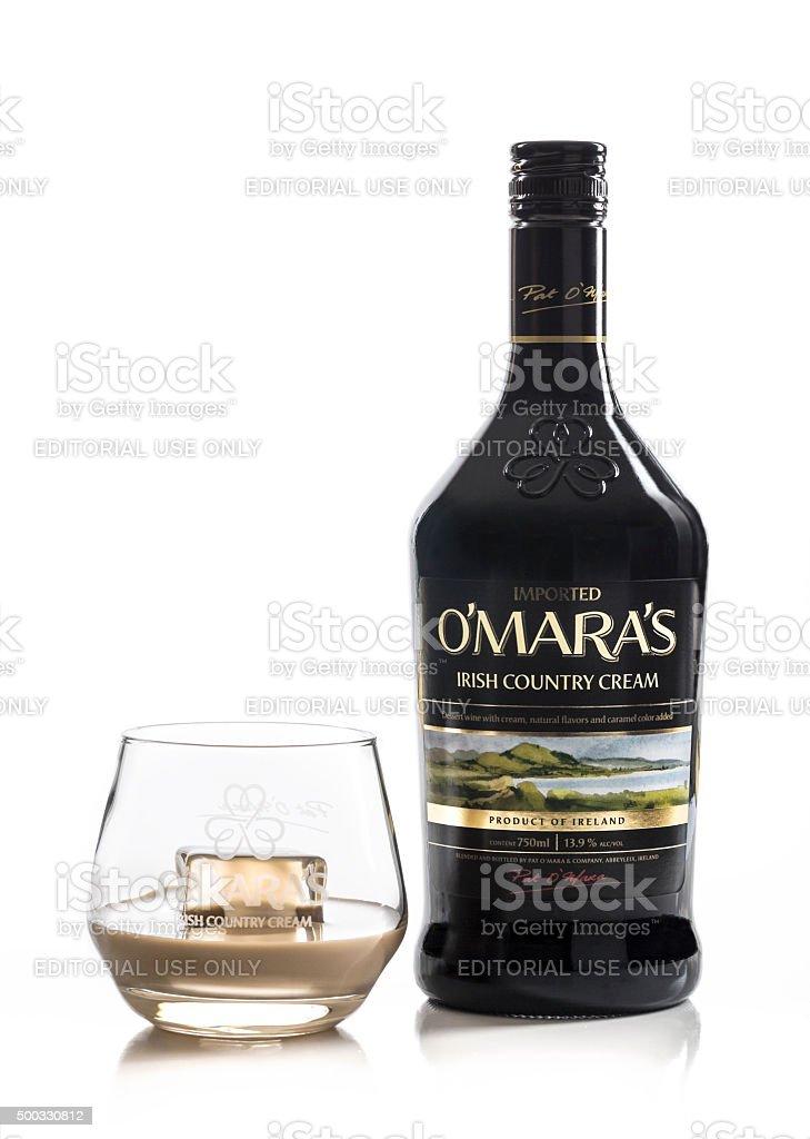 O'mara's Irish Cream With Glass stock photo