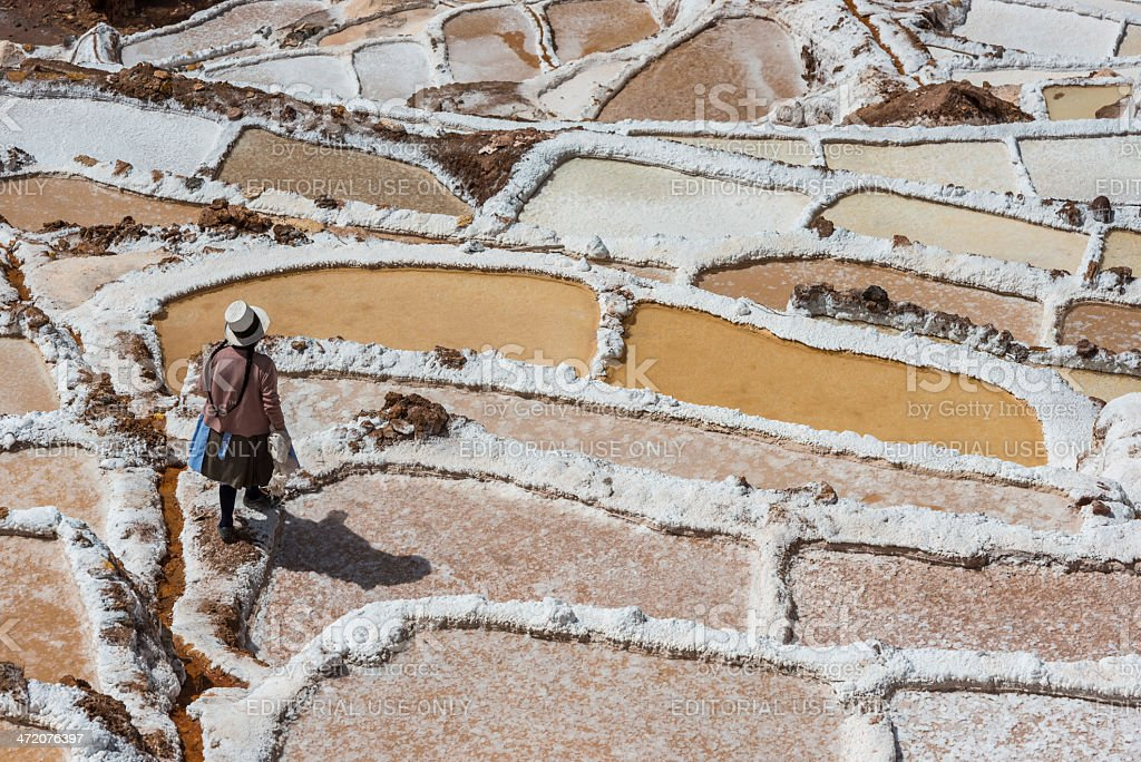 Maras salt mines peruvian Andes Cuzco Peru stock photo