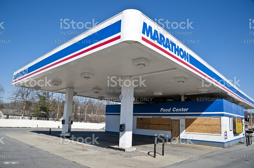 Marathon Gas Station Convenience Store Out Of Business royalty-free stock photo