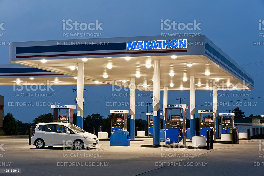 Marathon Gas Station Fuel Pumps stock photo