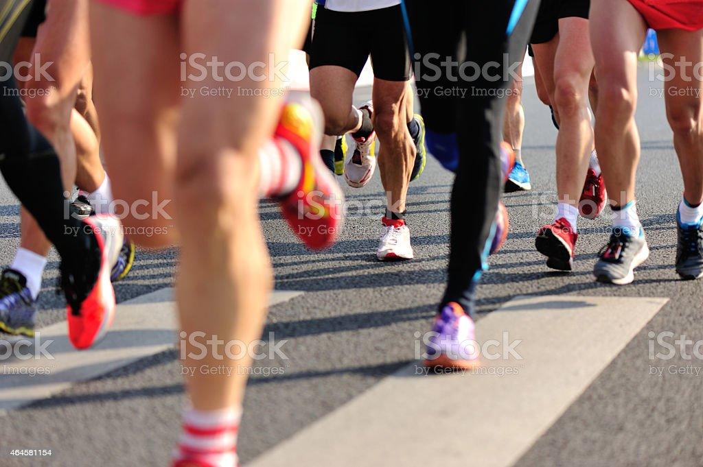 marathon runner legs stock photo