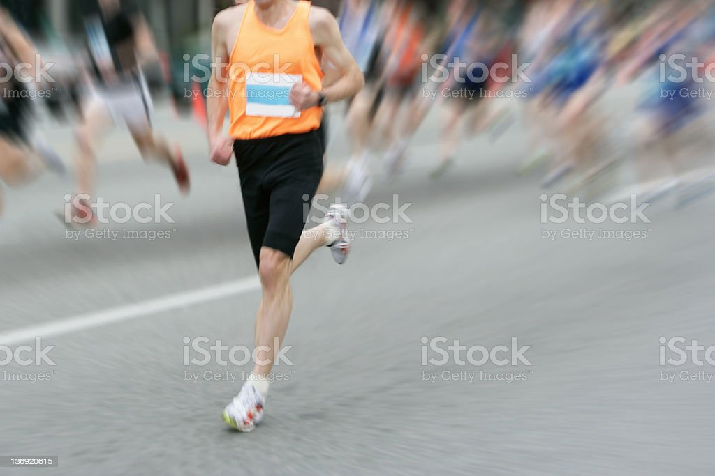 XL marathon runner stock photo
