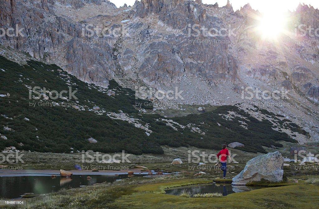 Marathon runner training in the high alpine region of Patagonia stock photo