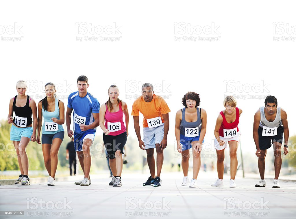 Marathon runners at the starting line royalty-free stock photo