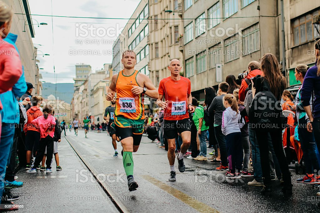 Marathon Runners Competing each other stock photo