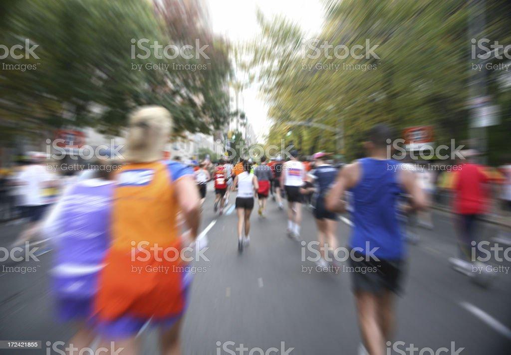 Marathon Runners In Motion stock photo