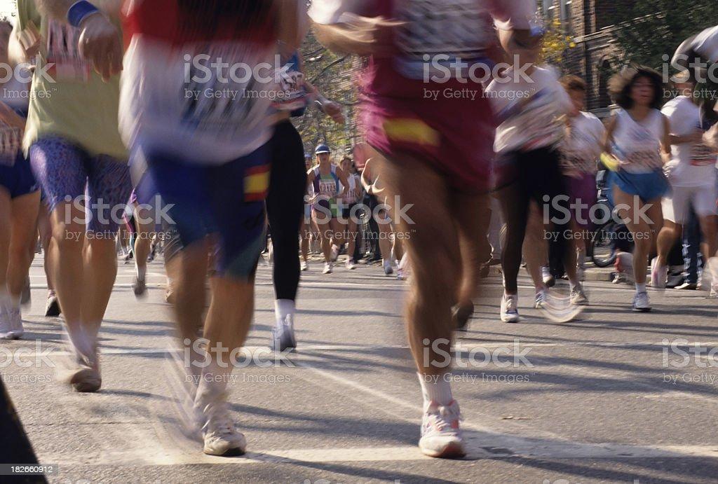 Marathon Runners In NYC stock photo