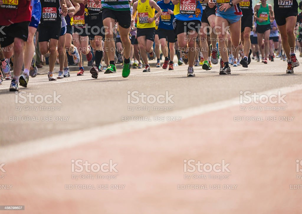 Marathon runners. London. Horizontal royalty-free stock photo