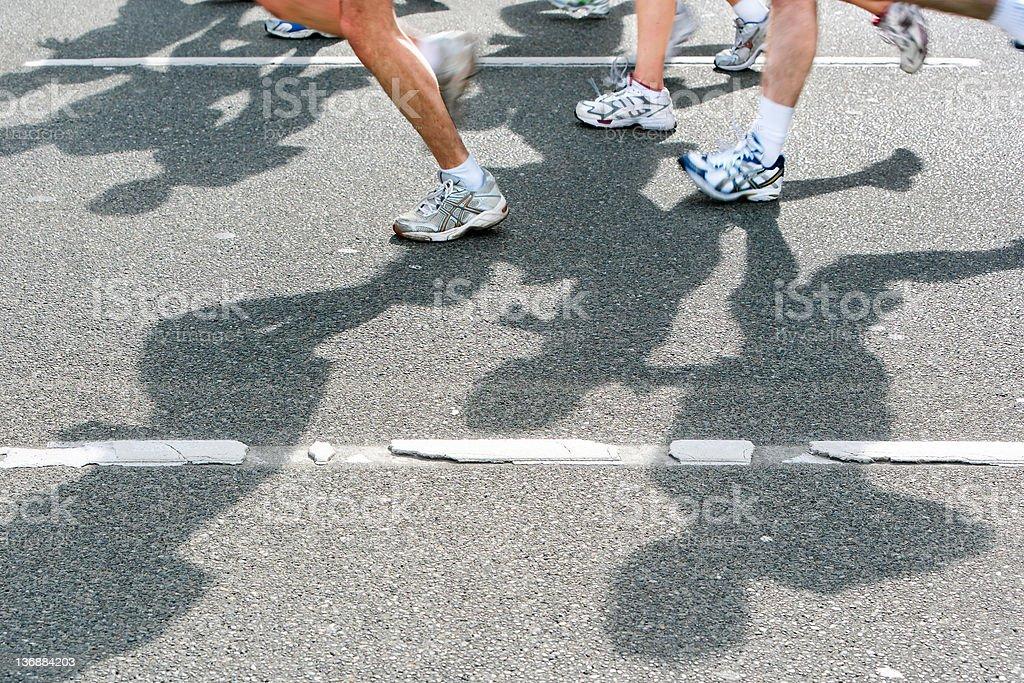 XL marathon runners stock photo