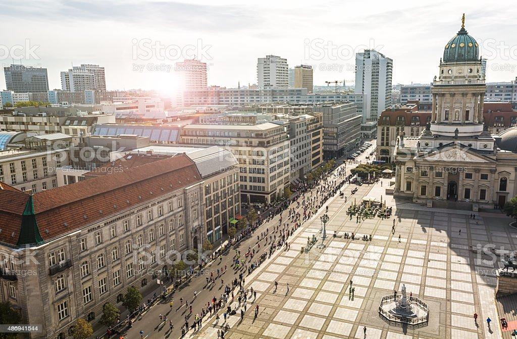 Marathon running in Berlin stock photo