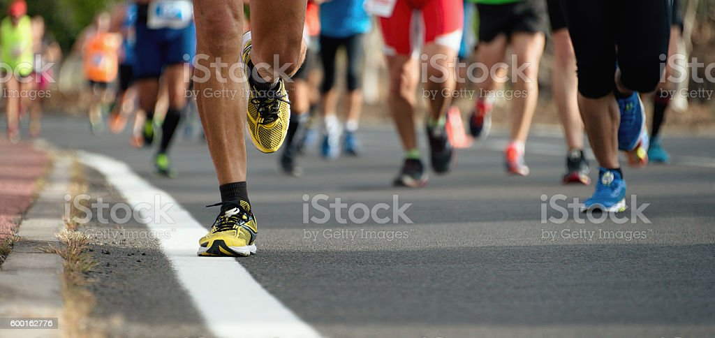 Marathon running race stock photo