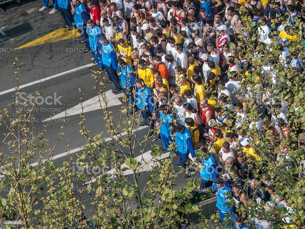 Marathon start line stock photo